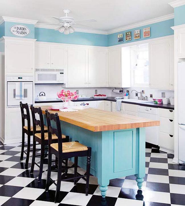Decora??o: 15 cozinhas com piso preto e branco - Cores da Casa