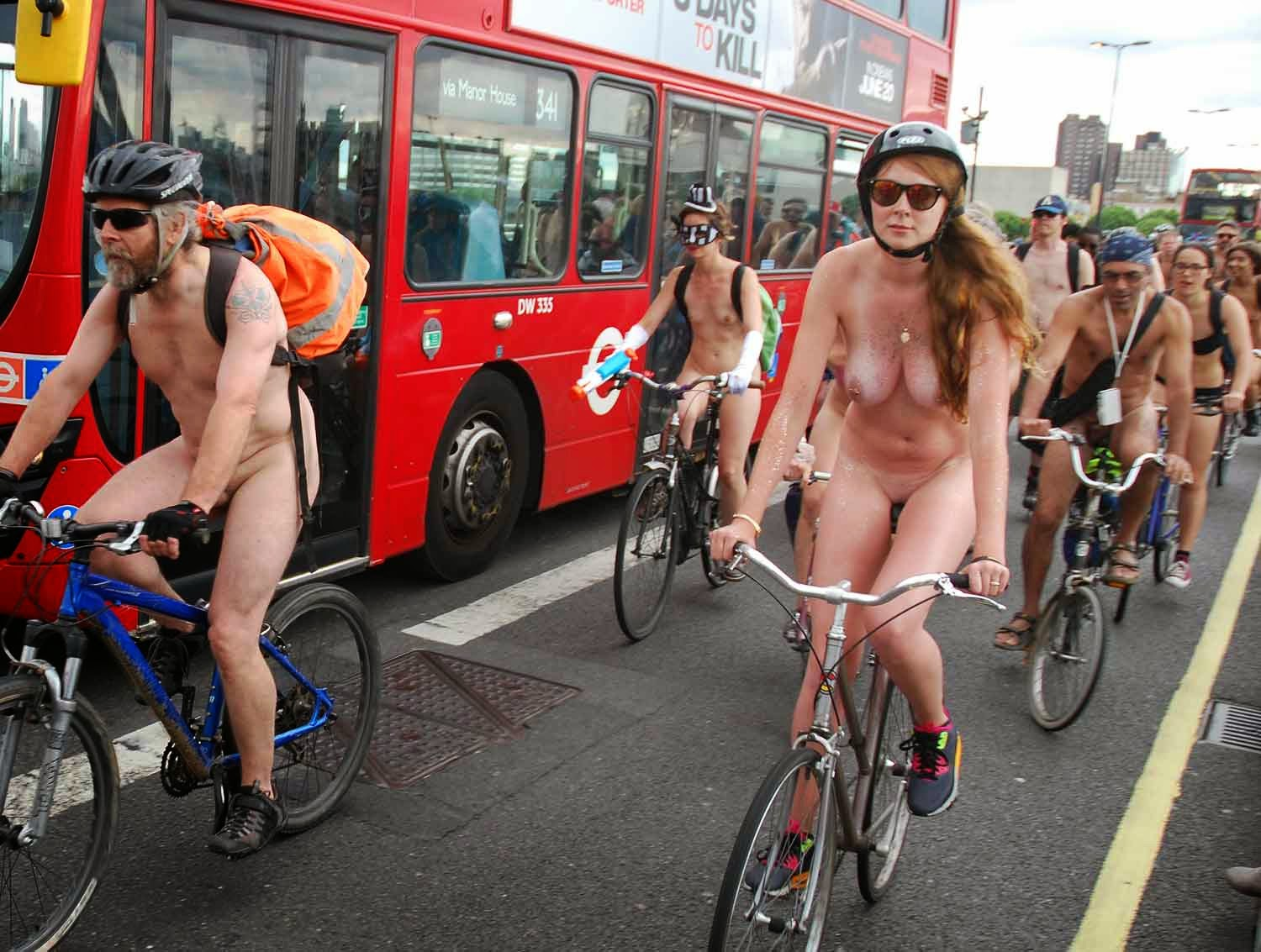 Naked bike ride for peace