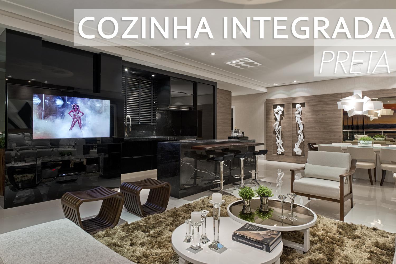 Cozinha preta integrada às salas de estar e jantar – maravilhosa  #3F638C 1500 1001