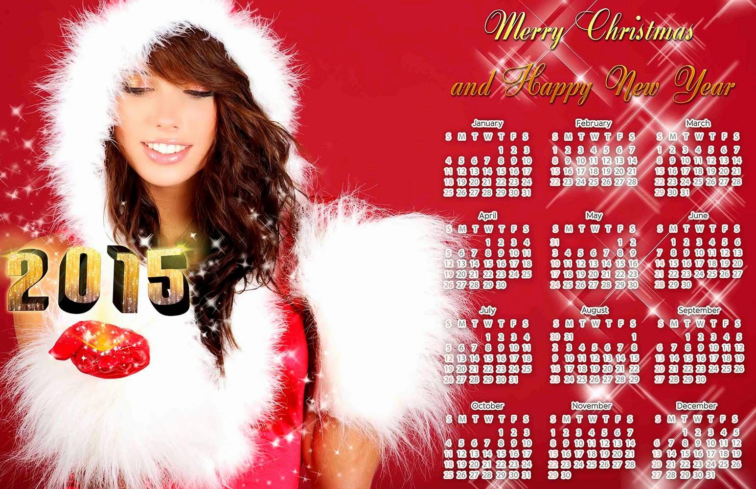 Fondo navideño con calendario 2015 en español e ingles