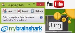Logos of Windows Snipping tool, mybrainshark, YouTube, Jing