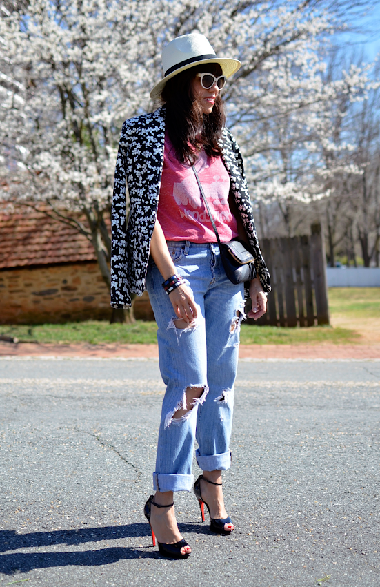 Outfit with floral blazer
