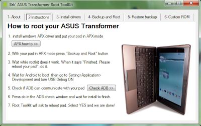 Imagen de como obtener acceso root en la Asus Transformer