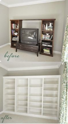 living room renovation inspiration built in bookcase