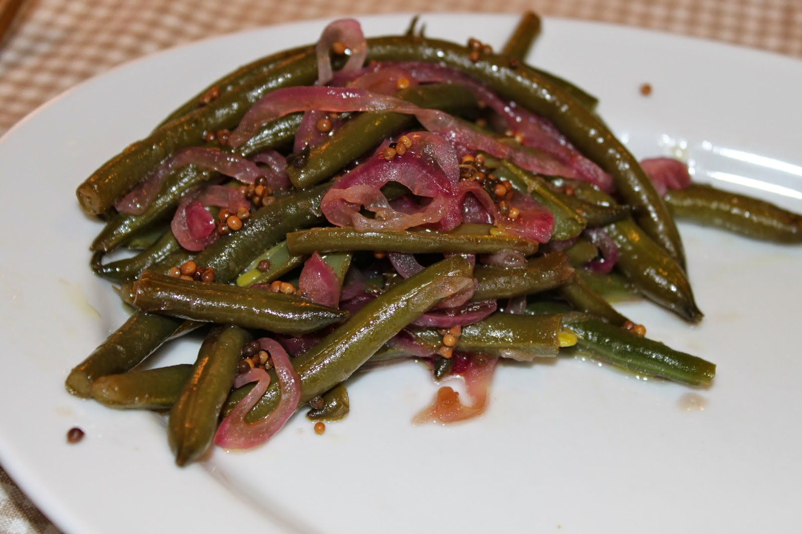 green beans with red onions and mustard seeds