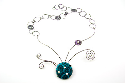Art Jewellery enameled necklace