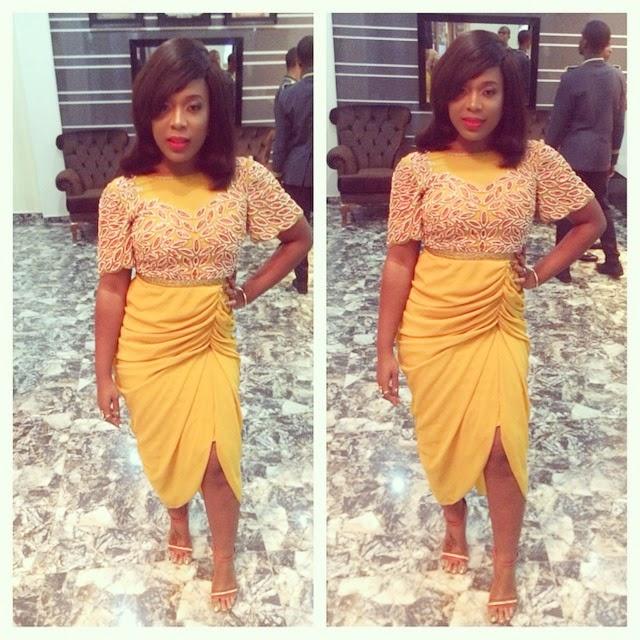 Moet Abebe Wearing a  Beautiful Yellow Virgos Lounge