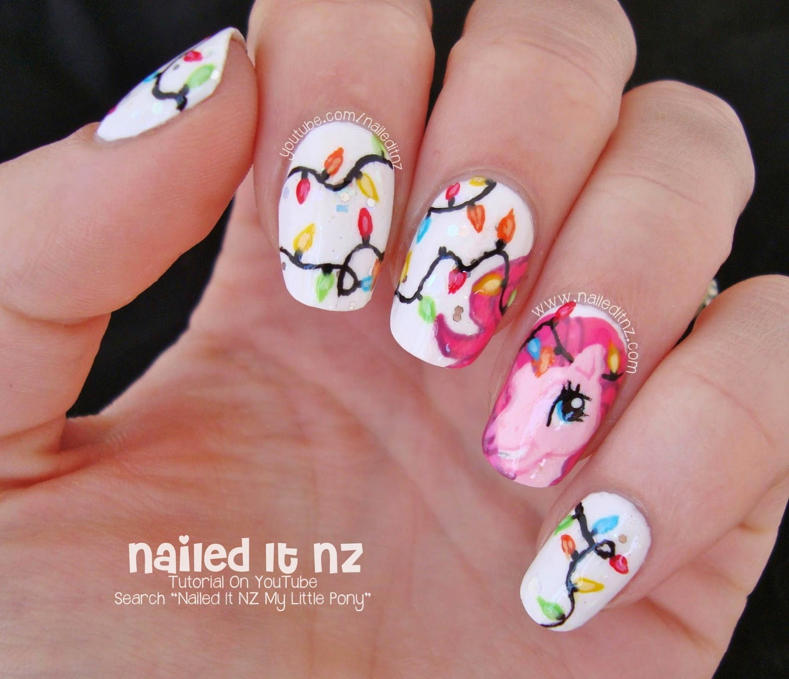 Pinkie pie nail art my little pony christmas an error occurred prinsesfo Gallery
