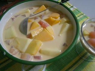 Puding Tapai ubi dan rock melon