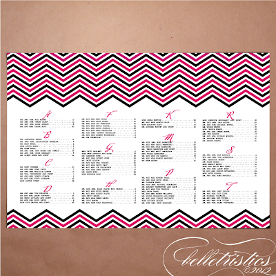 modern pink black chevron printable diy wedding reception seating chart sign assignment