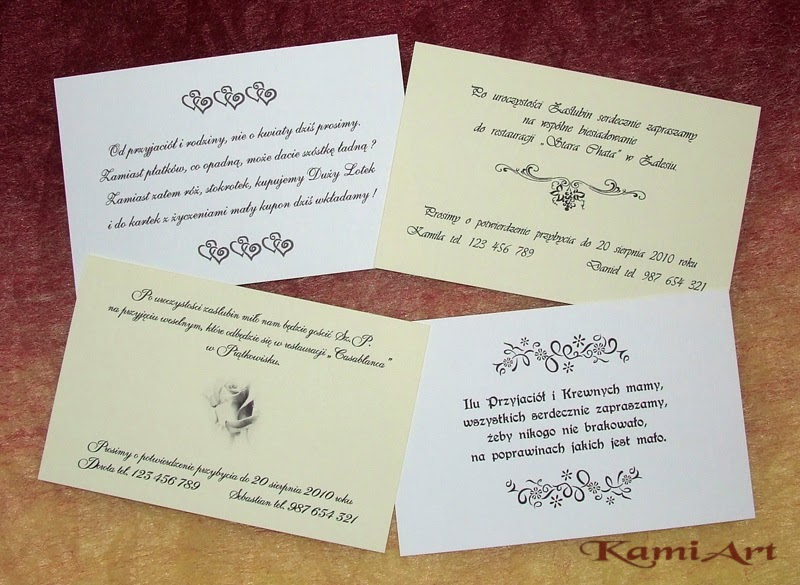 Kamiartpl Wierszyki Na Zaproszenia ślubne Zamiast Kwiatów