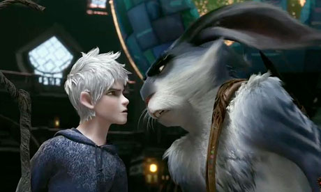 Jack and Bunny staring at each other in Rise of the Guardians disneyjuniorblog.blogspot.com