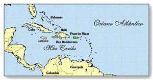 Mapa de Puerto Rico en El Caribe
