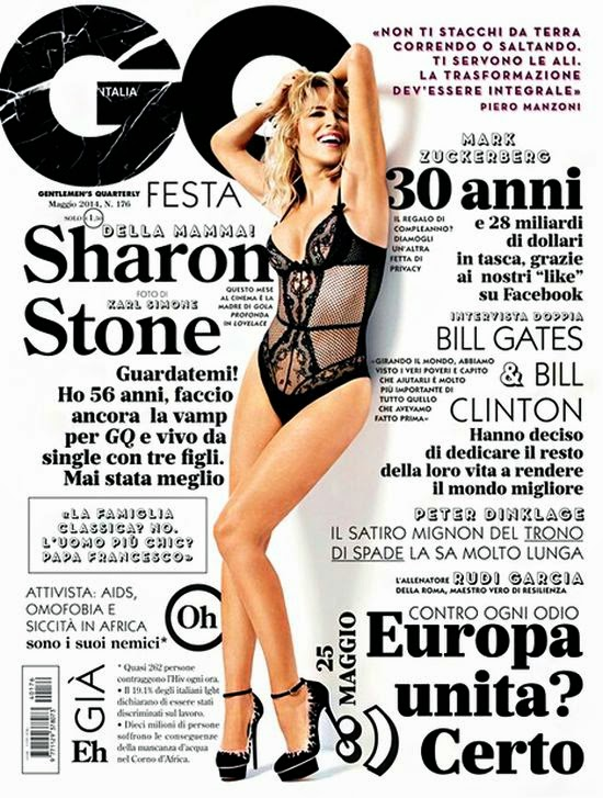Embracing her figure in a black swimsuit, Sharon Stone have barely any curves to speak of as she reveals her toned figure style on the GQ Italia cover of May 2014 edition.