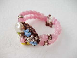 bijoux romantique strass bijoux rose couleur pastel bracelet manchette perles
