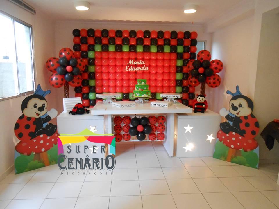 decoracao de festa infantil jardim das joaninhas:SUPER CENÁRIO: Decoração Clean Personalizada Joaninha