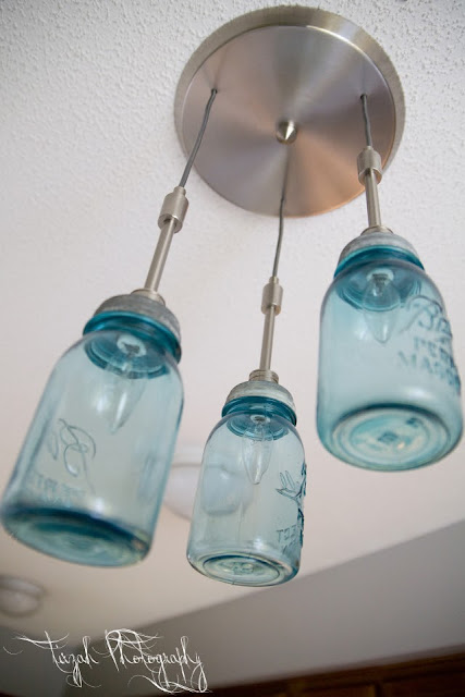 Blue Mason Jar Pendant Lights