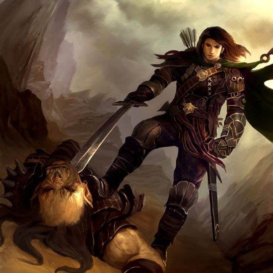Lius Lasahido deviantart ilustrações fantasia arte conceitual Ranger versus orc