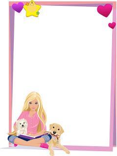 Caratula para cuaderno vertical  de niña de la muñeca Barbie