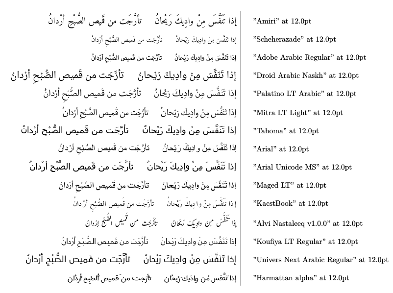 arabic fonts xetex