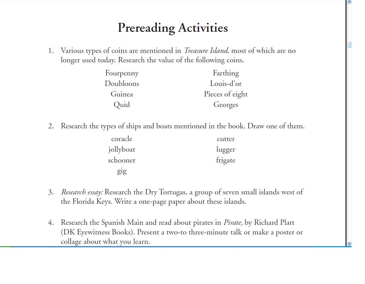 progeny press treasure island review the usual hem these kind of warm up activities were a great way to build up excitement for the study guide and book in our case treasure island happens to be a