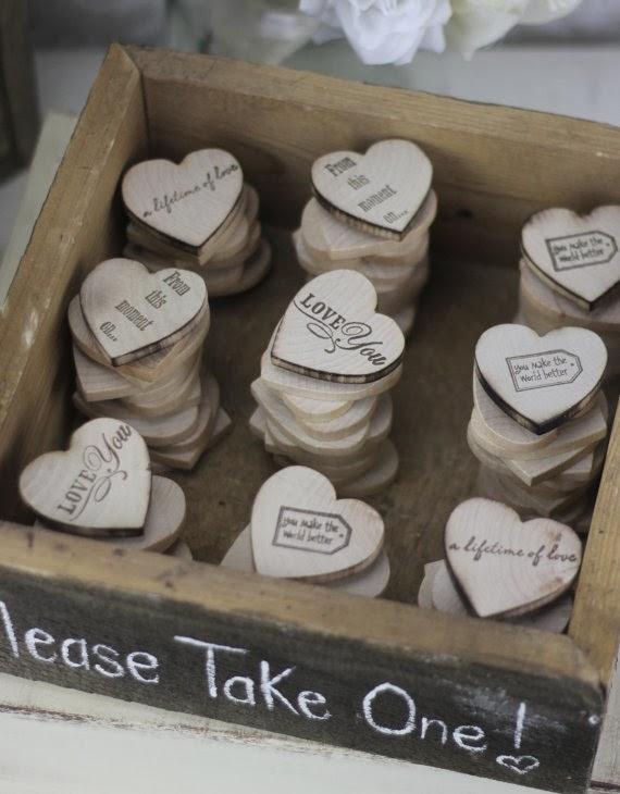 Unxia Wedding Favors Wood Heart Magnets