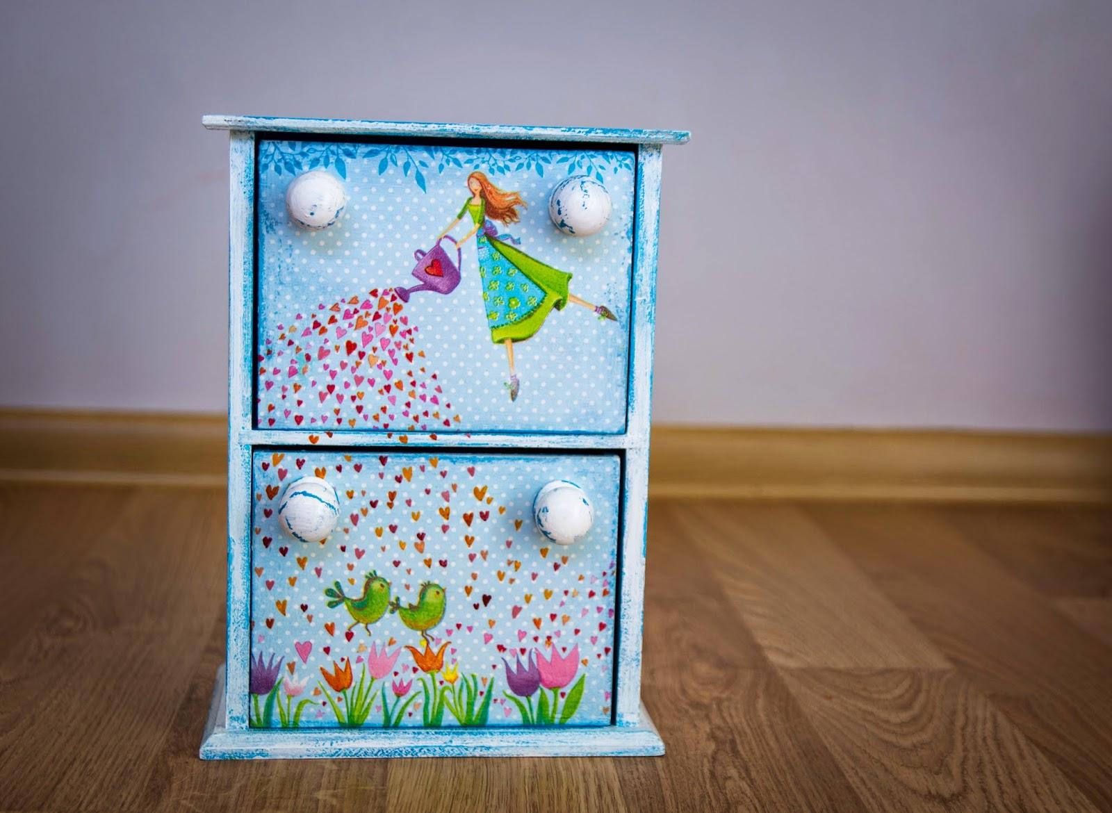 мини-комодик, декор для детской, романтичный декор, сердечки, птички, феи, тюльпаны, листья, горошки