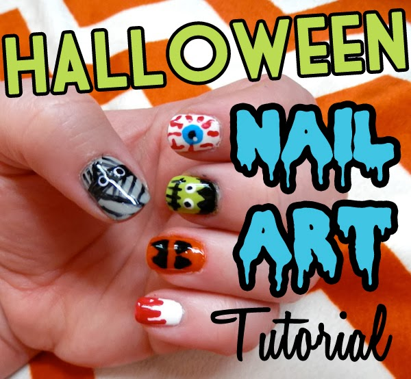 Easy Halloween Nail Art Tutorial Neon Rattail