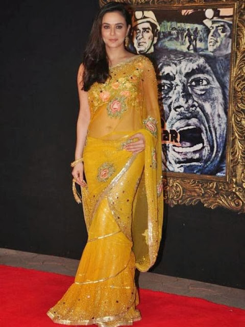 Preity Zinta in Yellow Sari Pics