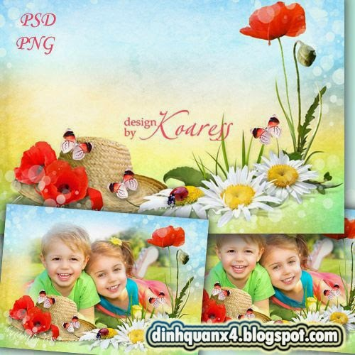 Childrens photo frame with flowers - Summer is coming soon