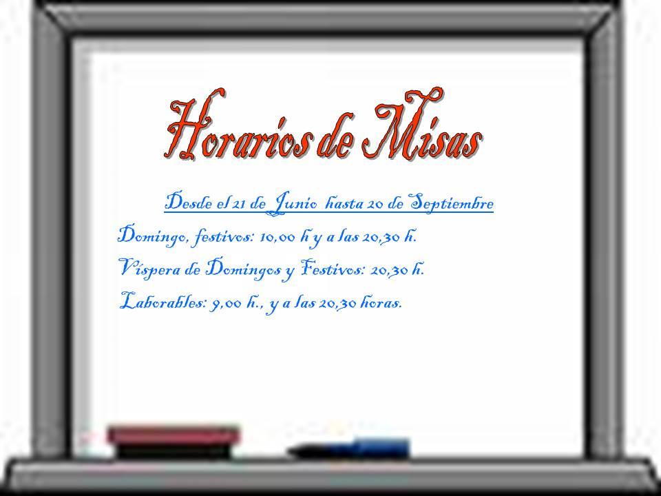 Horario Eucaristías en Verano