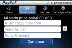 Free Paypal Mobile App: Blackberry Interface