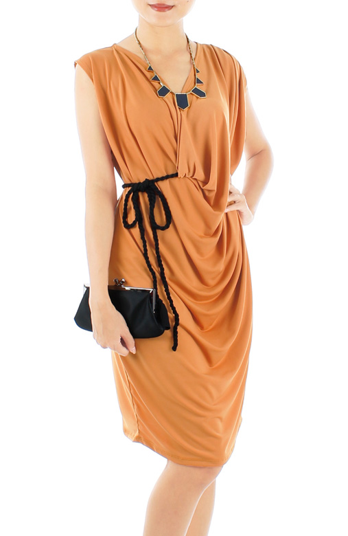 Empyrean Drape Dress with Black Rope Belt