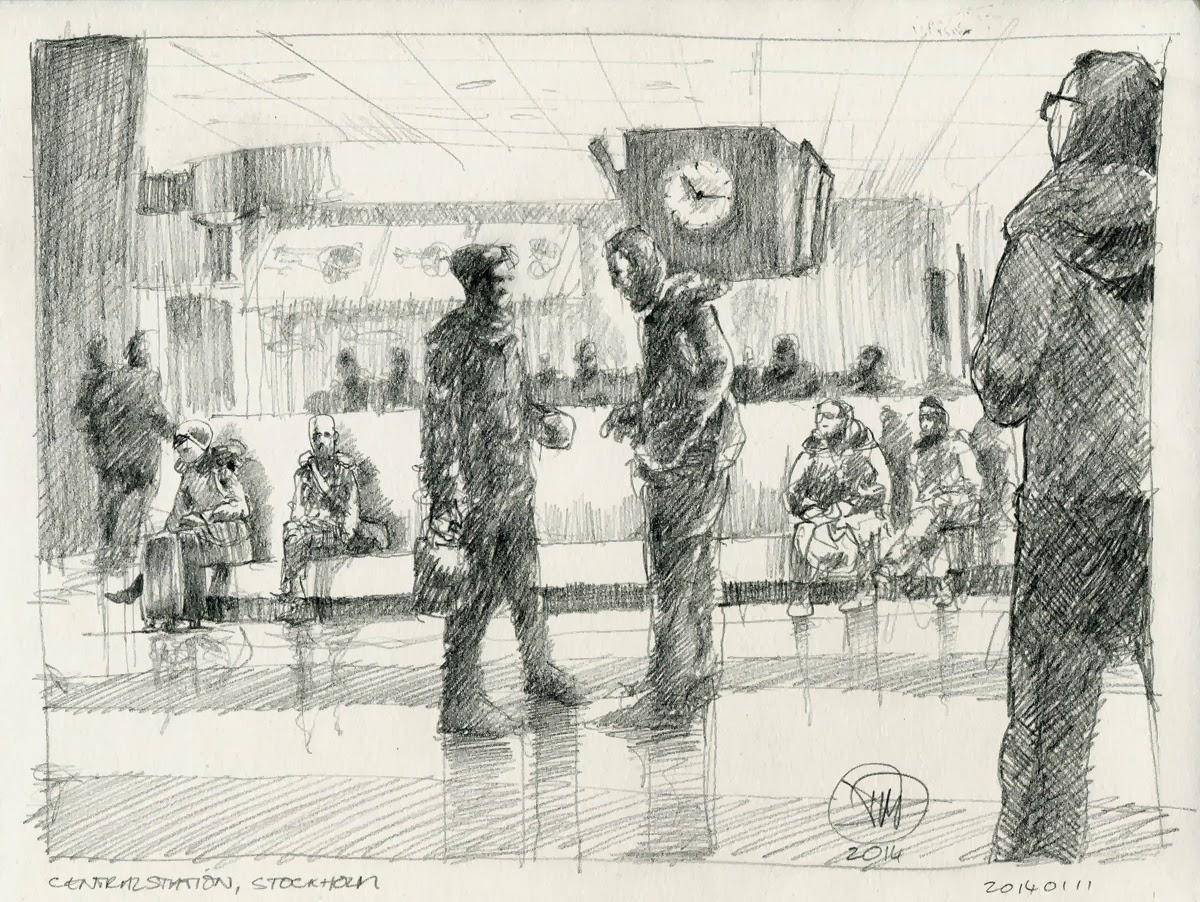 Sketch of Central Station, Stockholm by David Meldrum