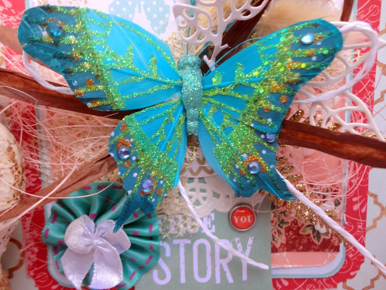 Открытка для женщины с цветами и бабочками на День рождения 27