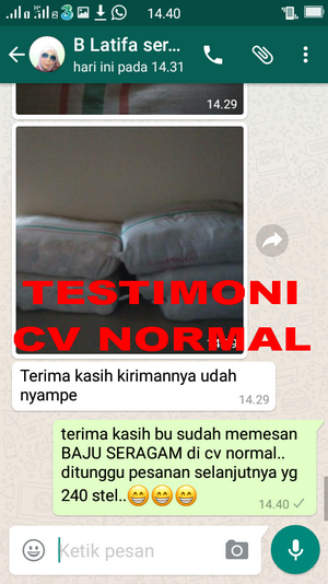 TESTIMONI PEMBELIAN BAJU SERAGAM SEKOLAH CV NORMAL