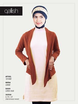 Produk Qallish Kaos Cardigan Koleksi Gamis Muslimah Coklat