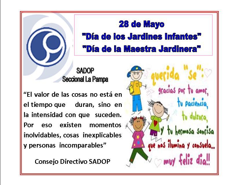 "La Pampa: ""Dia de los Jardines Infantes"" ""Dia de la Maestra Jardinera"