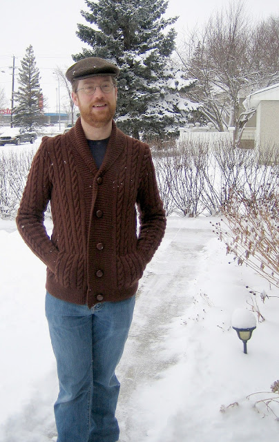 Brown sweter with shawl collar
