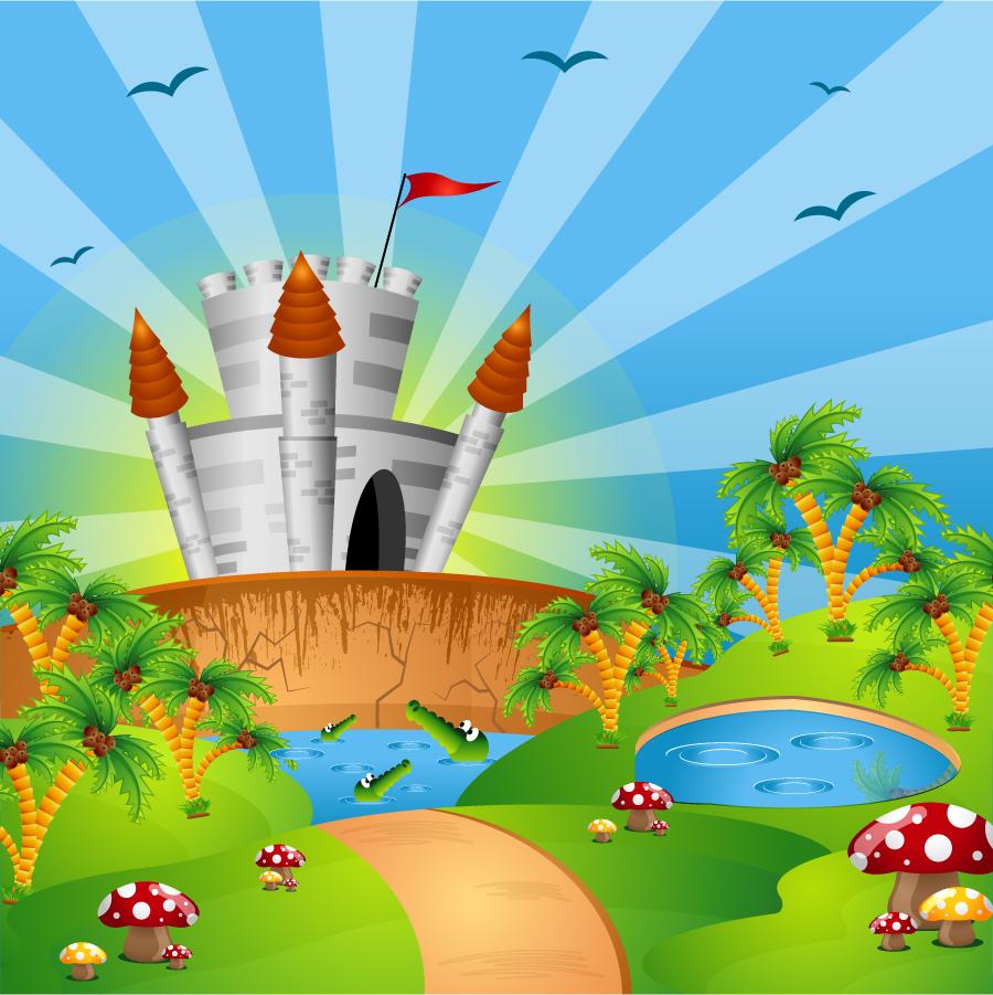 お城のイラスト Cartoon castle illustration イラスト素材