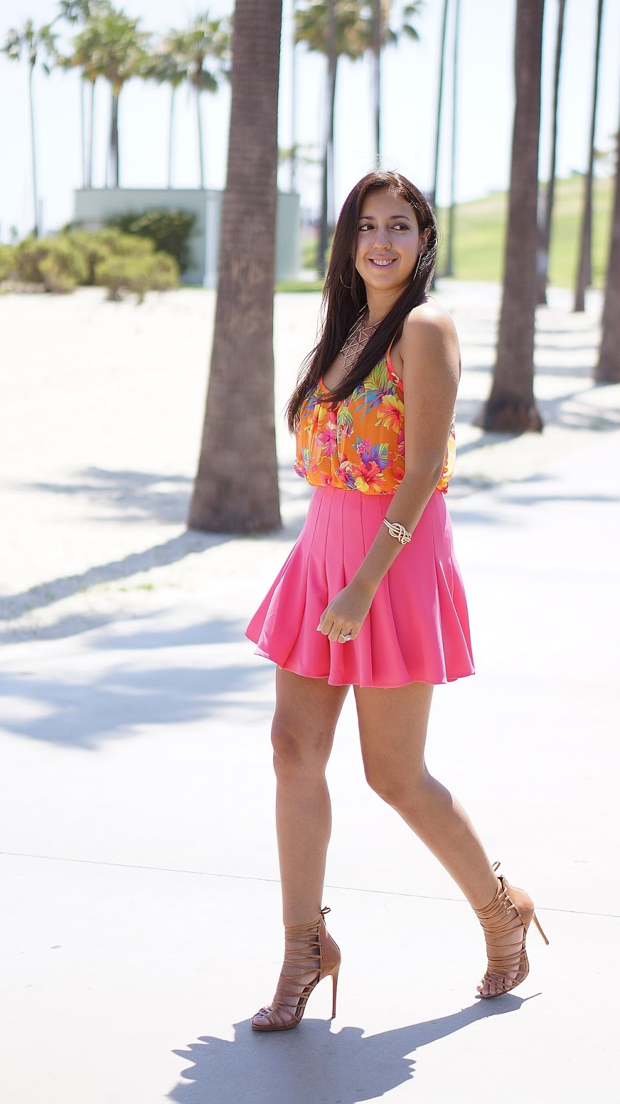 H&M Pleated Skirt, Shoemint Heels, Hawaiian Print Top, Summer Fashion