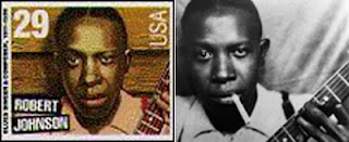 Robert Johnson postage stamp (1994) and source photo with cigarette