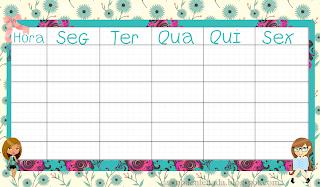 tabelas personalizadas imprimir para horário de aulas alunos e professores
