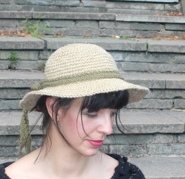 kapelusz szydelkiem ze sznurka