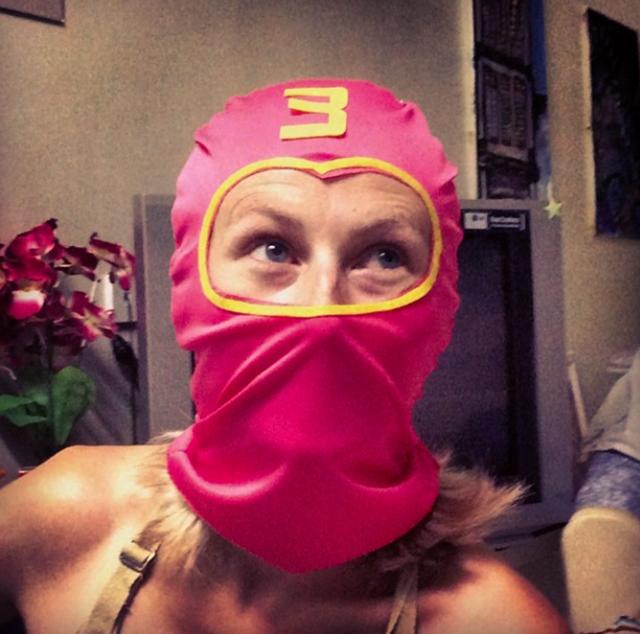 Pink superhero balaclava.