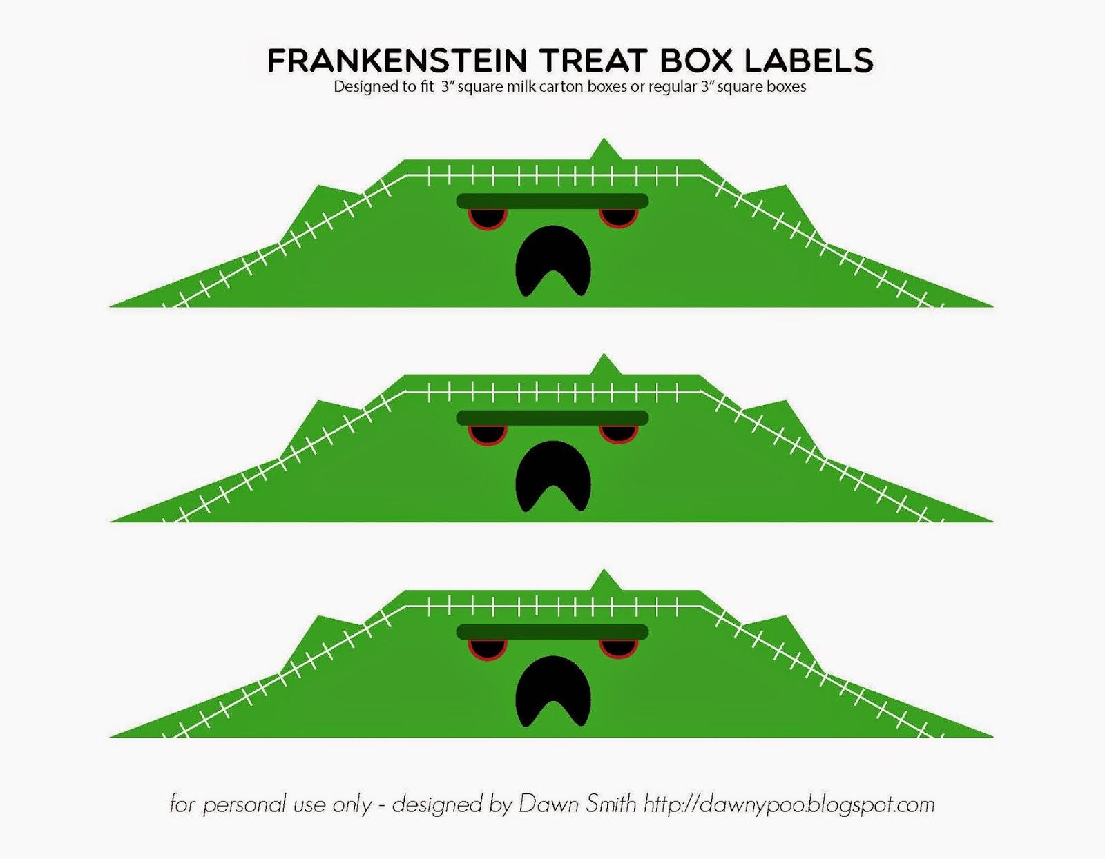 free Frankenstein treat box label download