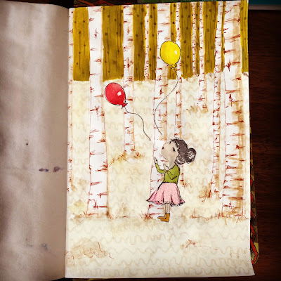 image of little girl letting go of balloons in a forest.