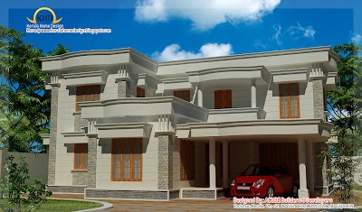 Duplex Square House Elevation - 194 square meter (2090 Sq.Ft) - January 2012