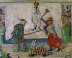 James Ensor (31 años) - Esqueletos luchando por el cuerpo de un ahorcado (1891)