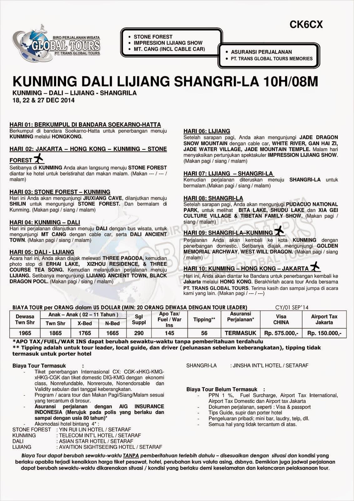 KUNMING DALI LIJIANG SHANGRI-LA